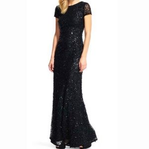 Adrianna Papell Scoop Back Sequin Gown (Black)